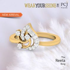 "Let your fingers do the talking as you be the limelight with ""The Reeta Ring"" by WearYourShine.  #WearYourShine #PCJeweller #IndianJewellery #Trends #GiftJewelleryInIndia #Love #Heart #Diamonds #Rings #Trending #Fashion #Contemporary"