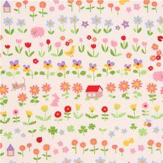 Hellcremefarbener Stoff aus Japan mit Blumen, Tieren