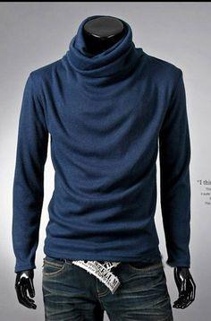 Wholesale Causal & Fashionable Piles Collar Pure Color Slim T-shirt----Blue top dresses