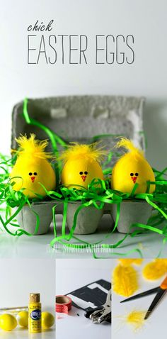 Easter Craft Ideas - Easter Egg Decorating Ideas - Chick Easter Eggs - It All St. - Easter Craft Ideas - Easter Egg Decorating Ideas - Chick Easter Eggs - It All St. Diy Ostern, Easter Crafts For Kids, Easter Ideas, Easter Decor, Easter Eggs Kids, Easter Centerpiece, Bunny Crafts, Easter Celebration, Easter Holidays