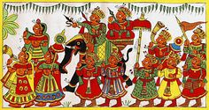 Royal Marriage Procession - Folk Art Paintings (Phad Painting on Cloth - Unframed) Phad Painting, Worli Painting, Fabric Painting, Pichwai Paintings, Indian Art Paintings, Indian Traditional Paintings, Traditional Art, Royal Marriage, Fabric Paint Designs