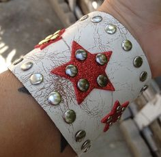 SUPER HERO inspired white leather cuff bracelet by whackytacky.com aka peoplecollars.com, $39.99