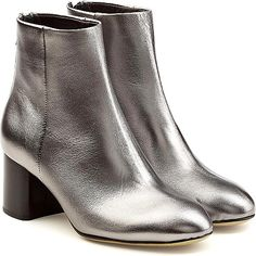 Rag & Bone Shoes - Styled with Rag & Bone's signature rock-chic attitude, these 'Drea' boots are rendered in glossy metallic silver leather. Set on thick block heels in contrast black, they'll elevate denim and dresses with ease. - #rag&boneshoes #silvershoes