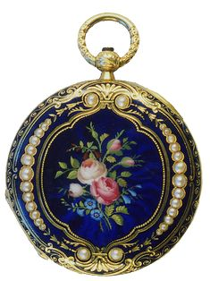 17th Century Guilloché enameled hunter case pendant watch in the style of Karl Fabergé.