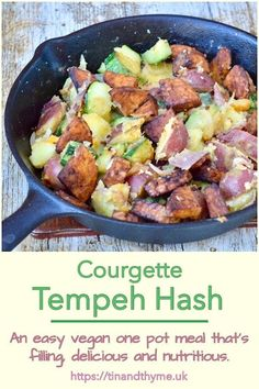 Courgette Tempeh Hash. An easy one pot vegan meal that's filling as well as delicious and nutritious. Just marinade tempeh in a rich umami spicy sauce, then fry. It's a perfect recipe for using up courgettes and any leftover potatoes. #TinandThyme #CourgetteRecipes #TempehRecipes #VeganMain #VeganRecipes Vegan Dinner Recipes, Delicious Vegan Recipes, Vegan Dinners, Vegetarian Recipes, Vegetable Recipes, Vegan Vegetarian, Easy Cooking, Cooking Recipes, Whole Food Recipes