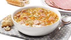 Soupe aux pois et au jambon à la mijoteuse. Mes modifs: 3 x ch légume,1/2 t pois cassés,1800ml de bouillon et 7h de cuisson