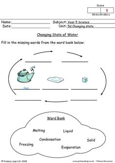English worksheet: Phases/States of Matter Math Sentences