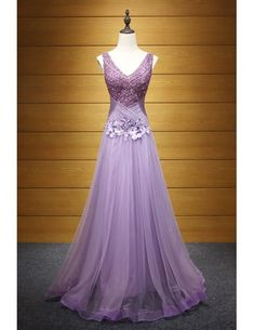 Purple A-line V-neck Floor-length Tulle Prom Dress With