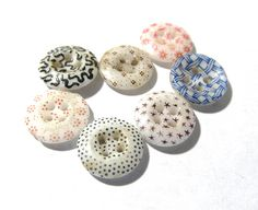 China Calico Buttons VINTAGE Assorted Colors Seven (7) China Stencil Calico Buttons Calico Stencils Vintage Jewelry Sewing Supplies (L47) by punksrus on Etsy