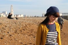 Nautical, colorful stripes. Mustard and navy pairing, with Joules clothing. #fashion