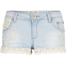 Parisian Light Blue Lace Trim Denim Shorts and other apparel, accessories and trends. Browse and shop 8 related looks.