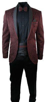 Mens Burgandy Wine Tuxedo Dinner Suit Wedding Prom Black Shawl Collar Slim Fit B