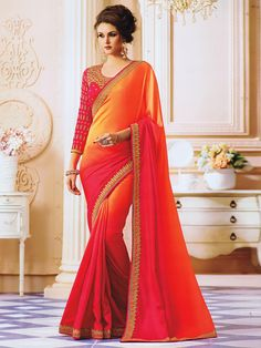 fa094c4f17f2cc Peach Color Silk Fabric Festive Wear Saree With Embroidered Border Look  your ethnic best by wearing this peach color party wear saree.
