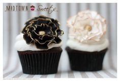 Chocolate Birthday Cupcakes with Black and White Ruffled Fondant Flowers with Gold Trim