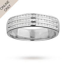 Ladies 3 row 0.24 total carat weight diamond wedding ring in 9 carat white gold