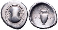 AR Stater. Greek, Boeotia, Thebes. Circa 395-338 BC. 25mm, 11,85g. SNG Copenhagen 325. Good VF. Price realized (2.7.2016): 262 EUR.