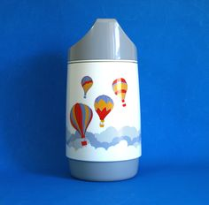 Funky Rotpunkt Hot Air Balloon Thermos Vacuum Flask - 70s Retro Vintage Plastic Hot & Cold Carrier - Made in West Germany by FunkyKoala on Etsy