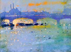 Battersea Bridge at Sunset. Tony Allain. pastel