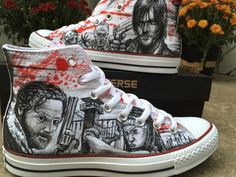 57a9ee98cbf The Walking Dead Shoes Custom High-top Painted Canvas Shoes