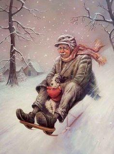 Szasz, Laszlo Endre Man Sledding w Dog Vintage Pictures, Vintage Images, I Love Snow, Vintage Christmas Images, Animation, Winter Art, Drops Design, Christmas Love, Winter Wonderland