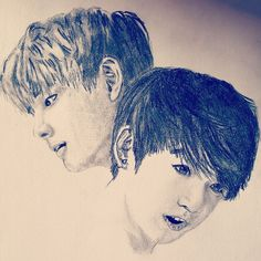 BTS V and Jungkook portrait Portrait Art, Bts, Artwork, Work Of Art