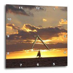 3dRose Sailboat at Sunset Sailing boat ship with sails at sea Ocean yellow sailor sail nautical photography, Wall Clock, 15 by 15-inch