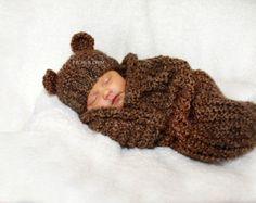 Café de cebada del Knit del sombrero del bebé oso y Cocoon conjunto - foto recién Prop para niño o niña