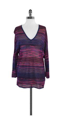M Missoni Fuchsia & Blue Metallic Knit Striped Shirt