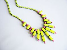 Vintage meets Modern.....Vintage 1950s One Of A Kind Hand Painted Neon Yellow and Neon Pink Rhinestone Necklace $85
