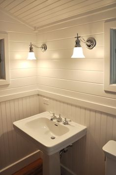 Don Fredericks makes the most of a small space with this bathroom project. Mixed floor to ceiling beadboard & v-groove with trim. credit: Don Fredericks Read more about this project here. Bathroom Wall, Modern Bathroom, Small Bathroom, Washroom, Bead Board Bathroom, Bathroom Ceilings, Bathroom Ideas, Restroom Ideas, Bathroom Black