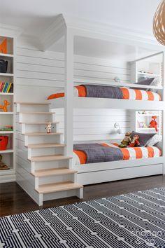 Modern Kids Room - Chango & Co. - Rumson New Modern - Bunk Room Stairs - Shiplap - Pop of Color - Woven Pendant Bunk Bed Rooms, Bunk Beds Built In, Bunk Beds With Stairs, Kids Bunk Beds, Cool Bunk Beds, Modern Bunk Beds, Boys Bedroom Ideas With Bunk Beds, Kids Bedroom Ideas, Custom Bunk Beds