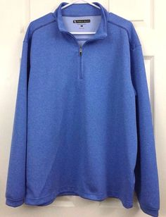 Golf Performance Polo Pullover Partial Zip Long Sleeve Large Blue Pebble Beach  #PebbleBeach #14ZipperPerformanceMaterialPoloRugby