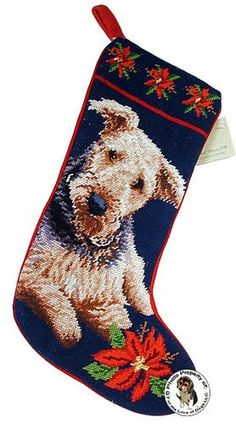 Airedale Terrier Dog Needlepoint Wool Christmas Stocking