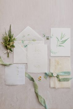 Luxury wedding invitations with beautiful textured handmade papers, hand dyed silk ribbon and wax seal. White and green Mediterranean themed invitations. Luxury Wedding Invitations, Wedding Invitation Suite, Wedding Stationery, Dyed Silk, Green Watercolor, Watercolor Wedding Invitations, Wedding Paper, Silk Ribbon, Botanical Illustration