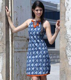 Blue Cocoa Cotton Ikat Dress