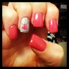 Simple valentines day nails , shellac pink polish with silver powder , I love my nails every time :)