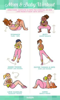 Returning to exercise after a baby is born can be a challenge, especially when having to spend the entire day tending to your newborn. Thankfully, we have a set of mom and baby workouts that allows you to have your very own workout companion and tool! Along with your own body weight, using your baby strategically (and carefully!) can provide great resistance for a home workout you can do anywhere. Click for 6 different workout moves that each focus on a different area of your body.