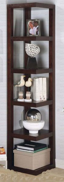 800268 Transitional Cheap Cappuccino Color Corner Bookcase | New $429 SALE $318.67 FRIENDS DISCOUNTED PRICE $239.00