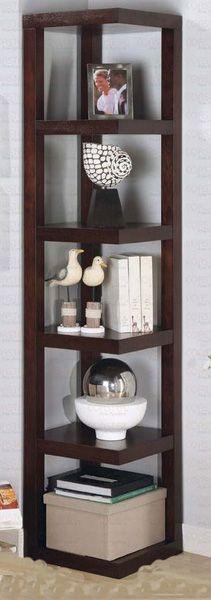 Corner bookshelf pinteres for Esquineros de madera para sala
