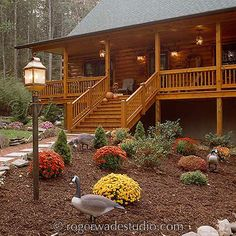 Log home designs begin with great photos of exquisite log homes. We give access to literally thousands of log home pictures to give you a myriad of design ideas. Log Cabin Living, Log Cabin Homes, Log Cabins, Prefab Cabins, Mountain Cabins, Rustic Landscaping, Home Landscaping, Log Home Plans, Barn Plans
