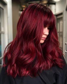 Beautiful vivid hair created by Hair Color Streaks, Hair Dye Colors, Cool Hair Color, Hair Highlights, Wine Red Hair Color, Hair Color Dark Red, Winter Hair Colour, Red Hair Dark Roots, Amazing Hair Color