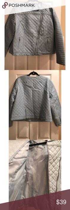 INC faux leather jacket , excellent condition Baby blue quilted faux leather jacket, excellent condition by INC INC International Concepts Jackets & Coats