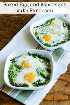 Baked Eggs and Asparagus with Parmesan-This tasty breakfast is low-carb, gluten-free, and South Beach Diet friendly! (11 Fresh Asparagus Recipes Perfect for Spring!)