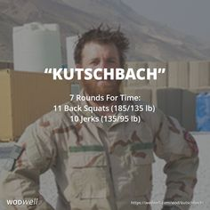"""""""Kutschbach"""" WOD - 7 Rounds For Time: 11 Back Squats lbs); Hero Workouts, Crossfit Workouts At Home, Squat Workout, Sandbag Workout, Crossfit Baby, Crossfit Chicks, Multi Gym, Military Workout, Weekly Workout Plans"""