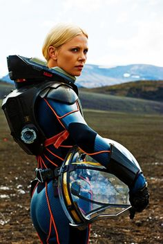 the suit is supposed to be function over fashion, but Charlize Theron still looks great in it.  Prometheus