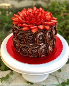 Chocolate cake decorating baking Ideas for 2019 Gateau Iga, Food Cakes, Cupcake Cakes, Cake Fondant, Sweets Cake, Baking Cupcakes, Strawberry Layer Cakes, Strawberry Sweets, Strawberry Flower