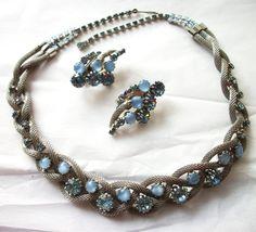 Vintage Hobe Necklace Set Blue Moonstone and Blue Rhinestone - Silver tone Mesh