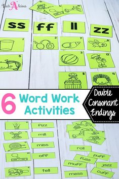 Looking for hands on word work activities for your first grade or kindergarten? These word work activities are great for students to practice spelling words with short vowel with doble consonant endings. They are easy to differentiate to target phonics skills and easy to organize for effective literacy centers. In this resource the practice/homework worksheets support students' independent practice at their stations.