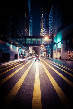 Since I'm not a big-city guy any more, I do certainly notice all these bright and bold lines in them, like here in Hong Kong. I took this one night while crossing the street. I used an extra wide-angle lens to really stretch those lines out and give them Photography Poses, Street Photography, Landscape Photography, Travel Photography, Amazing Photography, Bryce Canyon Utah, Valley Of Fire, Us Road Trip, Clear Blue Sky