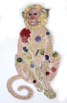 By embroidery artist Karen Nicol. Textile Fiber Art, Textile Artists, Textiles, Desenho Kids, Monkey Art, Snow Monkey, Motifs Animal, Embroidery Art, Fabric Art